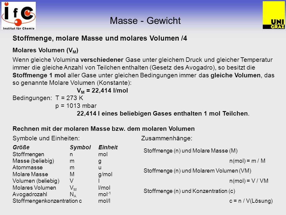 Masse - Gewicht Stoffmenge, molare Masse und molares Volumen /4 Molares Volumen (V M ) Wenn gleiche Volumina verschiedener Gase unter gleichem Druck u