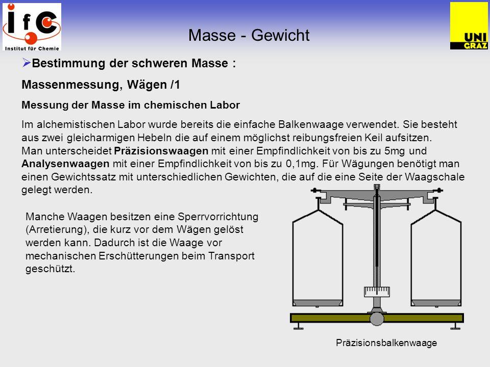 Masse - Gewicht Bestimmung der schweren Masse : Massenmessung, Wägen /1 Messung der Masse im chemischen Labor Im alchemistischen Labor wurde bereits d