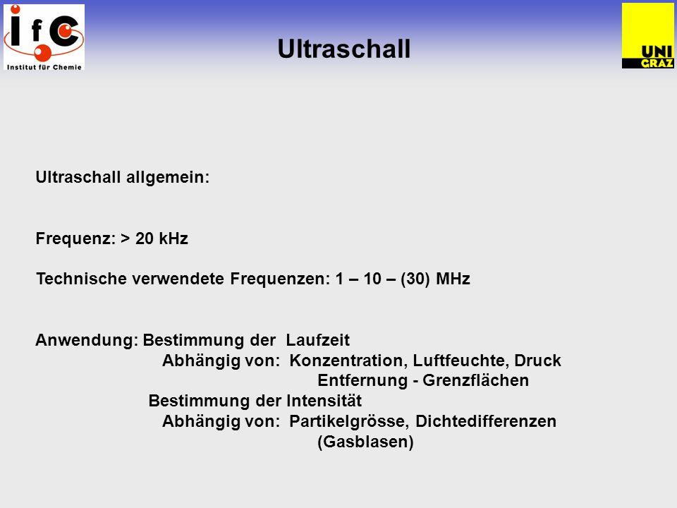 Ultraschall Ultraschall allgemein: Frequenz: > 20 kHz Technische verwendete Frequenzen: 1 – 10 – (30) MHz Anwendung: Bestimmung der Laufzeit Abhängig