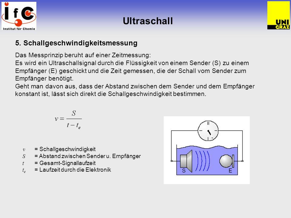 Ultraschall 5. Schallgeschwindigkeitsmessung Das Messprinzip beruht auf einer Zeitmessung: Es wird ein Ultraschallsignal durch die Flüssigkeit von ein