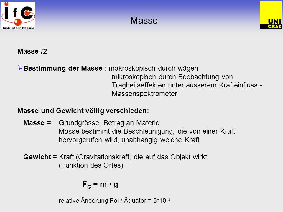 Masse /2 Bestimmung der Masse : makroskopisch durch wägen mikroskopisch durch Beobachtung von Trägheitseffekten unter äusserem Krafteinfluss - Massens