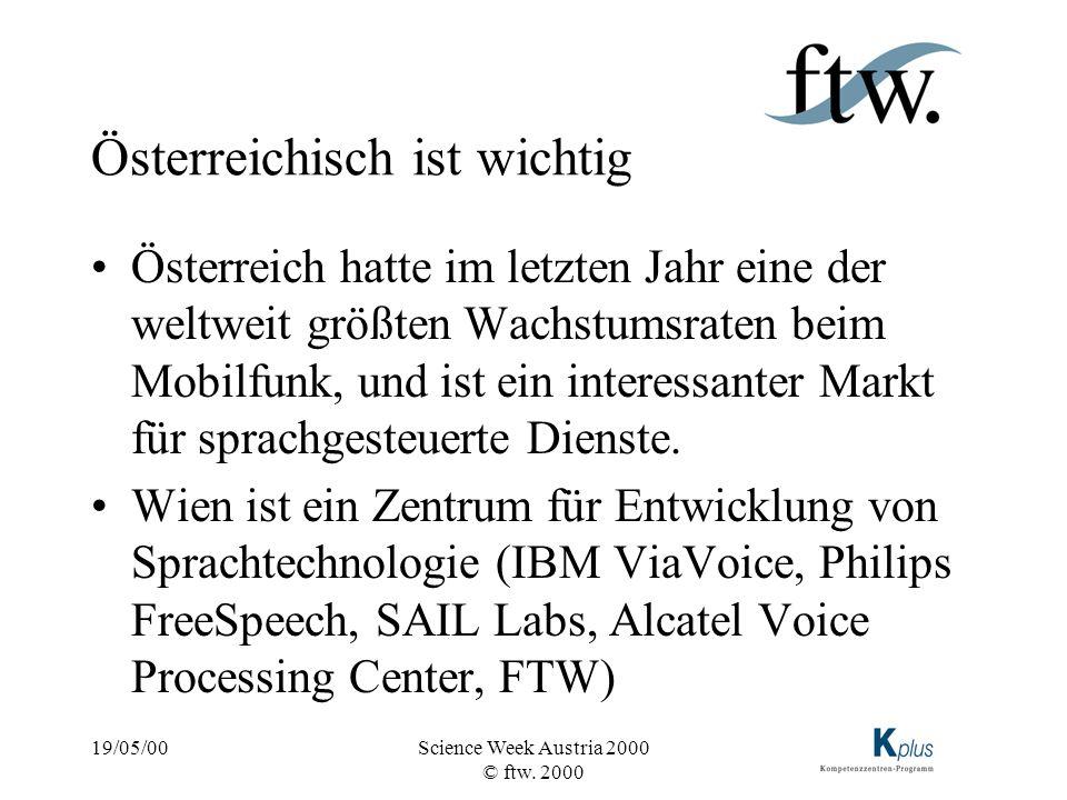 19/05/00Science Week Austria 2000 © ftw. 2000 Österreichisch ist wichtig Österreich hatte im letzten Jahr eine der weltweit größten Wachstumsraten bei