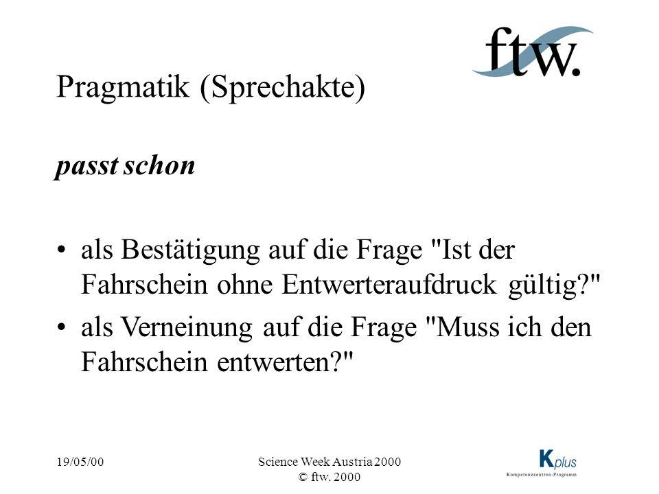 19/05/00Science Week Austria 2000 © ftw. 2000 Pragmatik (Sprechakte) passt schon als Bestätigung auf die Frage