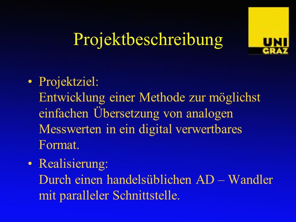 Projektbeschreibung Projektziel: Entwicklung einer Methode zur möglichst einfachen Übersetzung von analogen Messwerten in ein digital verwertbares For