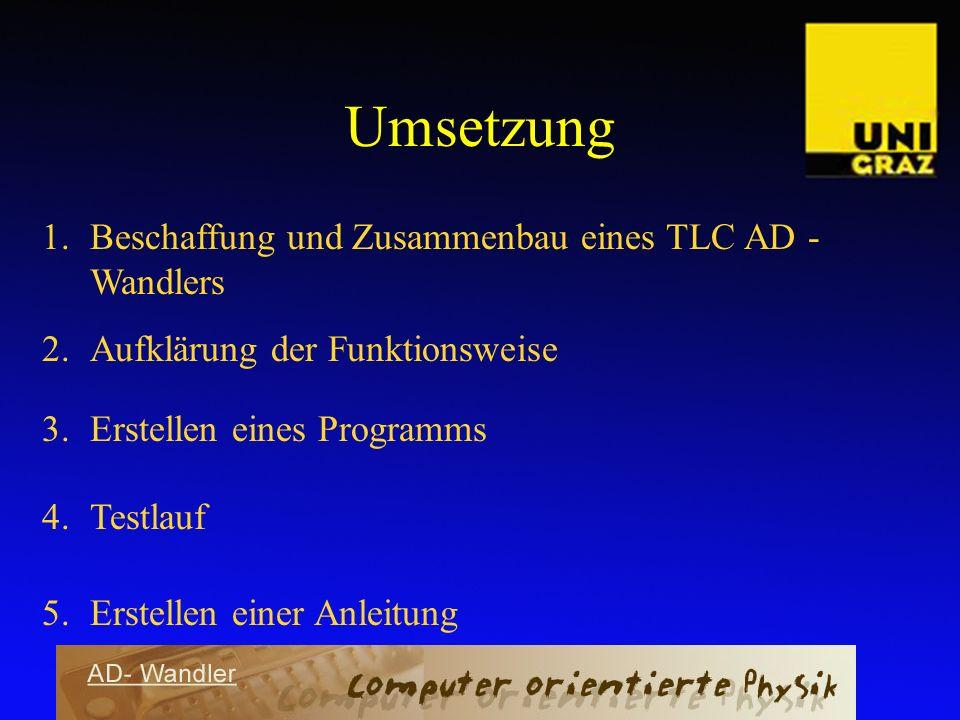 Umsetzung 1.Beschaffung und Zusammenbau eines TLC AD - Wandlers 2.Aufklärung der Funktionsweise 3.Erstellen eines Programms 4.Testlauf 5.Erstellen ein