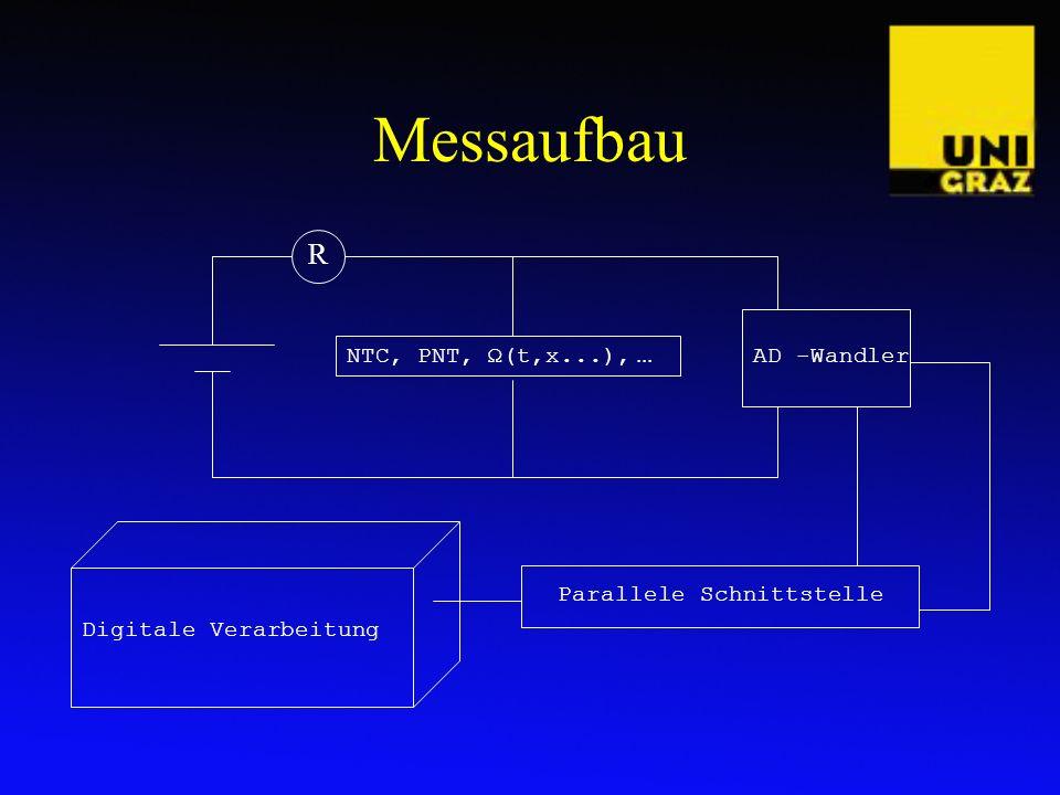 Messaufbau AD -Wandler Parallele Schnittstelle Digitale Verarbeitung NTC, PNT, Ω(t,x...),... R