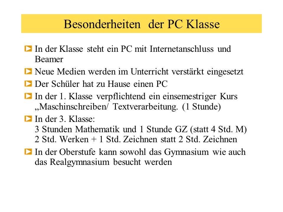 Die PC Klasse am Gymnasium Ried Vorträge um 9.00 10.00 11.00 und nach Bedarf