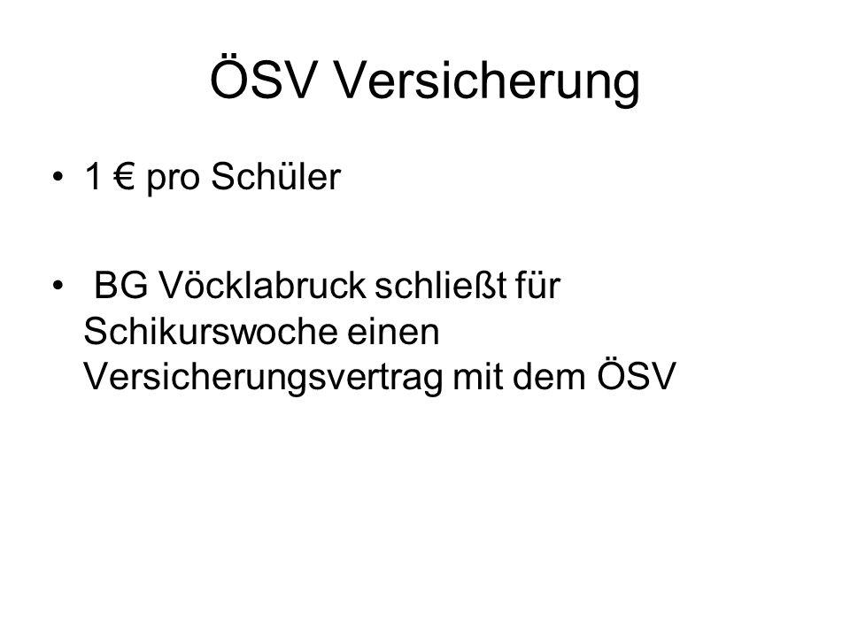 ÖSV Versicherung 1 pro Schüler BG Vöcklabruck schließt für Schikurswoche einen Versicherungsvertrag mit dem ÖSV ÖSV VersicherungÖSV Versicherung