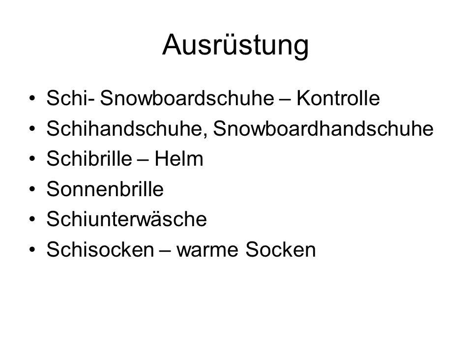 Ausrüstung Schi- Snowboardschuhe – Kontrolle Schihandschuhe, Snowboardhandschuhe Schibrille – Helm Sonnenbrille Schiunterwäsche Schisocken – warme Socken