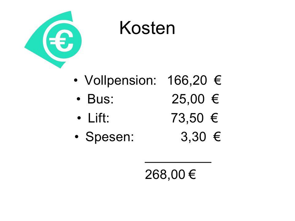 Kosten Vollpension: 166,20 Bus: 25,00 Lift: 73,50 Spesen: 3,30 _________ 268,00