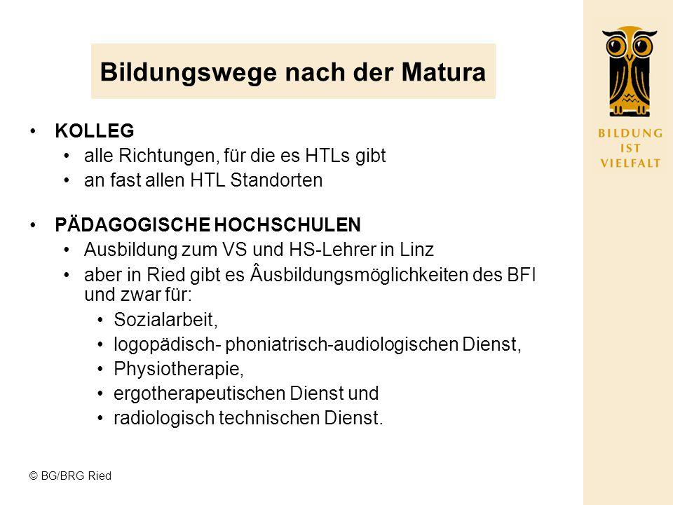 © BG/BRG Ried Bildungswege nach der Matura