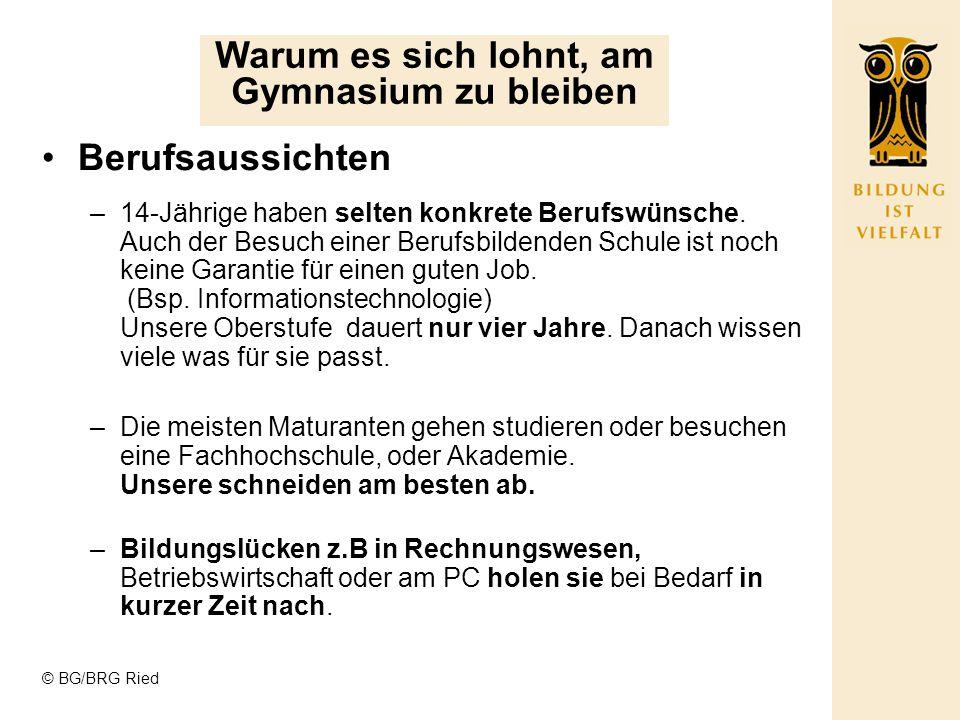 © BG/BRG Ried Sprachen - durchs Reden kommen die Leute zusammen –Der hohe Stellenwert des Deutschunterrichts, fördert in hohem Maße die mündliche und schriftliche Ausdrucksfähigkeit unserer SchülerInnen.