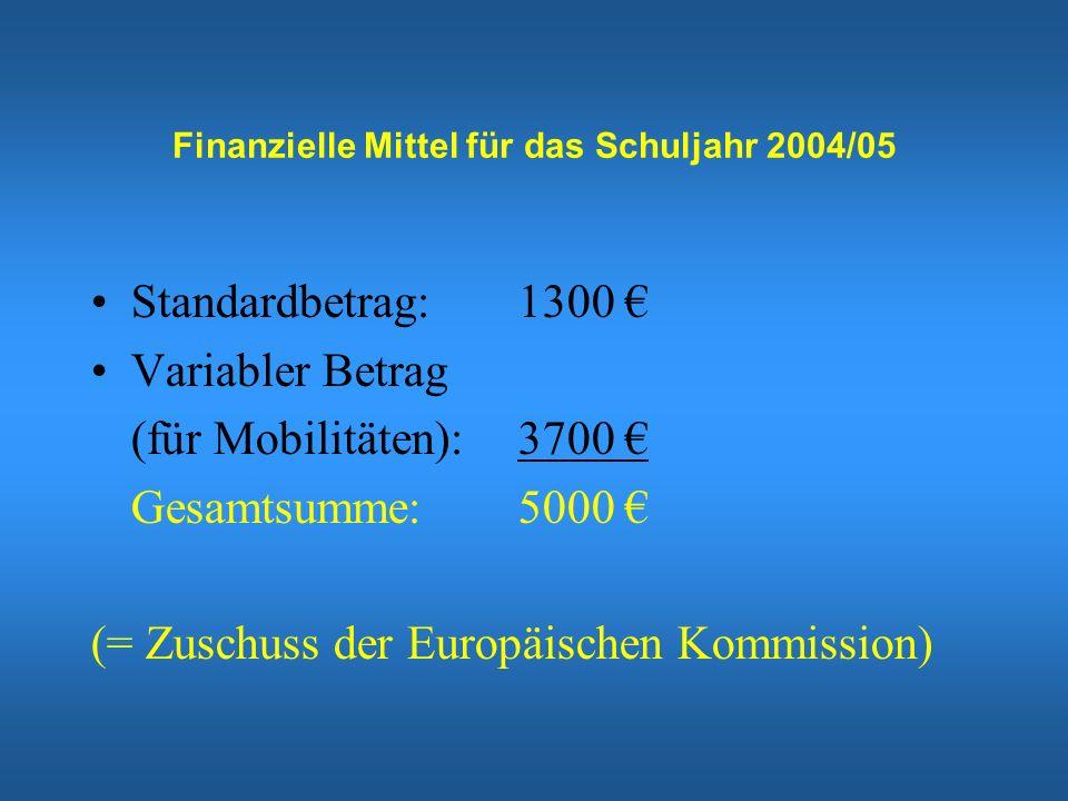 Finanzielle Mittel für das Schuljahr 2004/05 Standardbetrag: 1300 Variabler Betrag (für Mobilitäten): 3700 Gesamtsumme: 5000 (= Zuschuss der Europäischen Kommission)