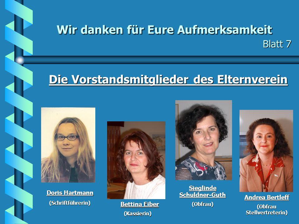Wir danken für Eure Aufmerksamkeit Blatt 7 Wir danken für Eure Aufmerksamkeit Blatt 7 Die Vorstandsmitglieder des Elternverein Doris Hartmann (Schrift
