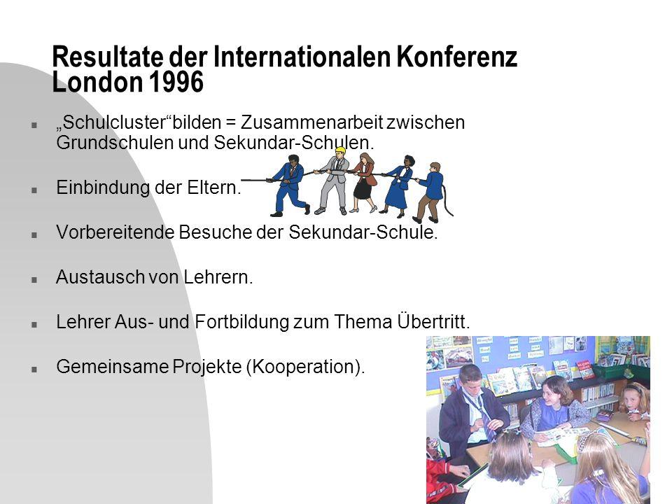 Resultate der Internationalen Konferenz London 1996 n Schulclusterbilden = Zusammenarbeit zwischen Grundschulen und Sekundar-Schulen.