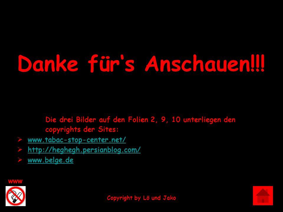 Exit www Copyright by Lö und Jako Danke fürs Anschauen!!! Die drei Bilder auf den Folien 2, 9, 10 unterliegen den copyrights der Sites: www.tabac-stop
