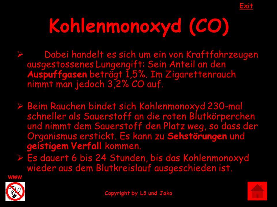 Exit www Copyright by Lö und Jako Kohlenmonoxyd (CO) Dabei handelt es sich um ein von Kraftfahrzeugen ausgestossenes Lungengift: Sein Anteil an den Au
