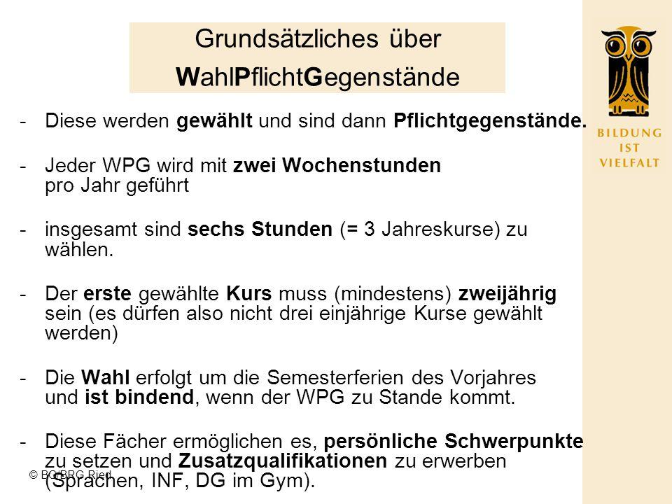 © BG/BRG Ried G/RG gemeinsame Unterstufe