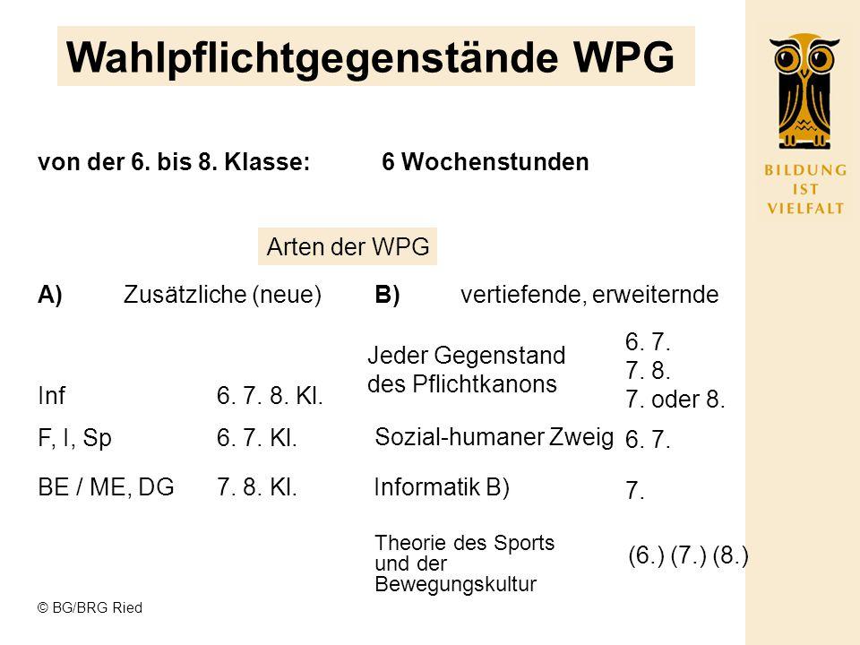 © BG/BRG Ried Wahlpflichtgegenstände WPG von der 6.