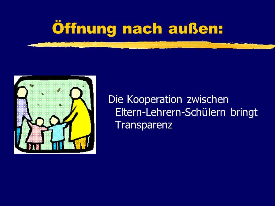 Öffnung nach außen: Die Kooperation zwischen Eltern-Lehrern-Schülern bringt Transparenz