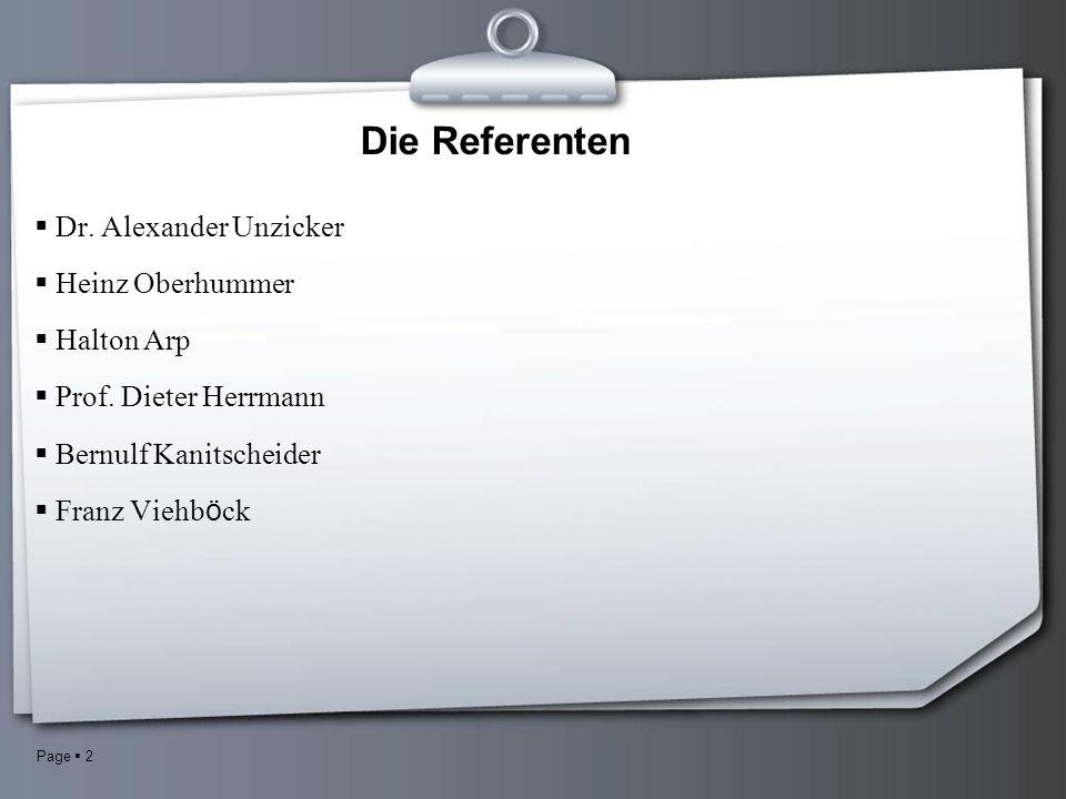 Page 2 Die Referenten Dr. Alexander Unzicker Heinz Oberhummer Halton Arp Prof.