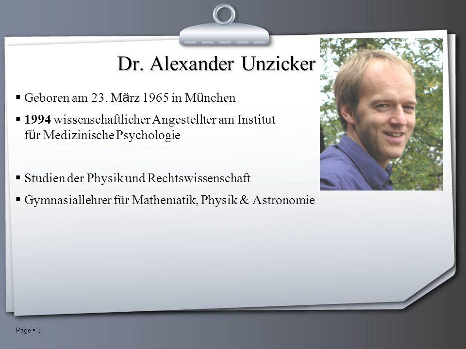 Page 3 Dr. Alexander Unzicker Geboren am 23.
