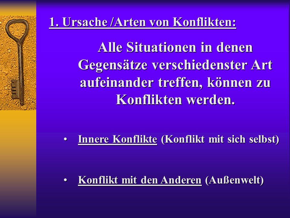 1. Ursache /Arten von Konflikten: Alle Situationen in denen Gegensätze verschiedenster Art aufeinander treffen, können zu Konflikten werden. Innere Ko