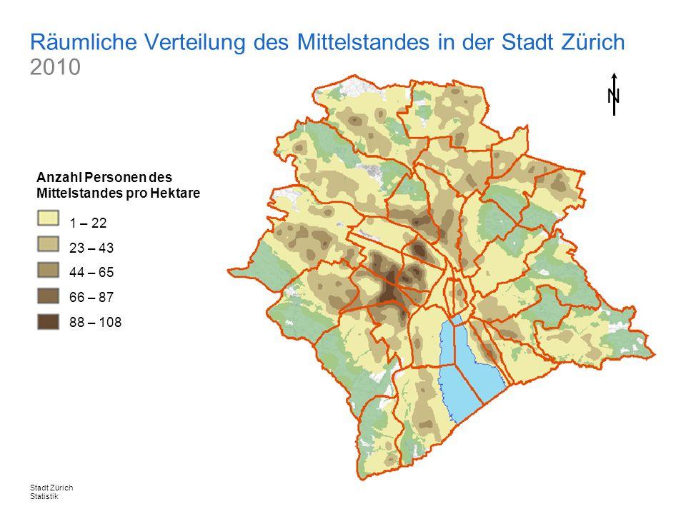 26. Oktober 2011, Seite 19 / 24Stadt Zürich Statistik Räumliche Verteilung des Mittelstandes in der Stadt Zürich 2010 N N 1 – 22 23 – 43 44 – 65 66 –