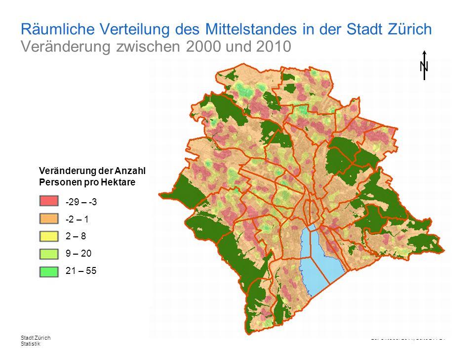 26. Oktober 2011, Seite 21 / 24Stadt Zürich Statistik Räumliche Verteilung des Mittelstandes in der Stadt Zürich Veränderung zwischen 2000 und 2010 -2