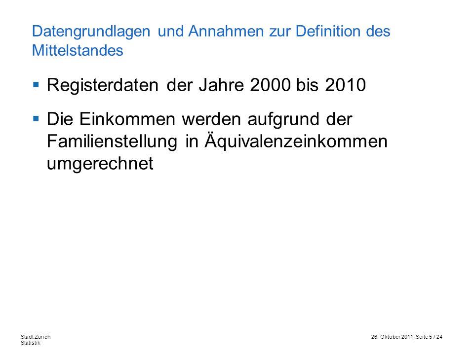26. Oktober 2011, Seite 5 / 24Stadt Zürich Statistik Registerdaten der Jahre 2000 bis 2010 Die Einkommen werden aufgrund der Familienstellung in Äquiv