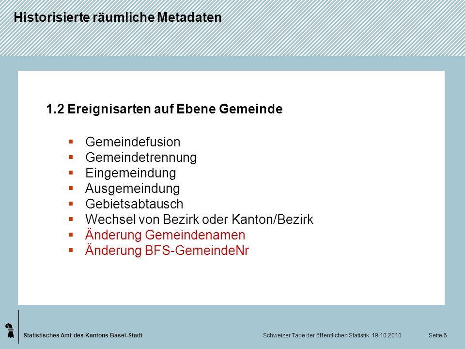Statistisches Amt des Kantons Basel-Stadt Historisierte räumliche Metadaten Schweizer Tage der öffentlichen Statistik: 19.10.2010 Seite 5 1.2 Ereignis