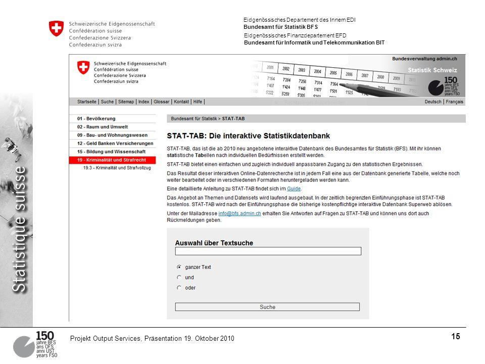 Eidgenössisches Departement des Innern EDI Bundesamt für Statistik BFS Eidgenössisches Finanzdepartement EFD Bundesamt für Informatik und Telekommunik
