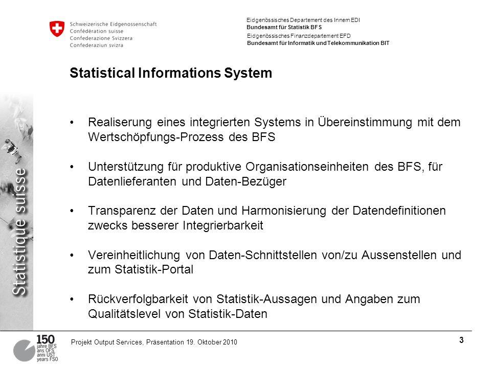 Eidgenössisches Departement des Innern EDI Bundesamt für Statistik BFS Eidgenössisches Finanzdepartement EFD Bundesamt für Informatik und Telekommunikation BIT 3 Projekt Output Services, Präsentation 19.