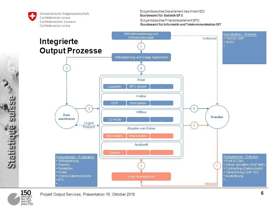 Eidgenössisches Departement des Innern EDI Bundesamt für Statistik BFS Eidgenössisches Finanzdepartement EFD Bundesamt für Informatik und Telekommunikation BIT 6 Projekt Output Services, Präsentation 19.