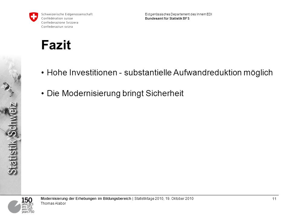 11 Modernisierung der Erhebungen im Bildungsbereich | Statistiktage 2010, 19.