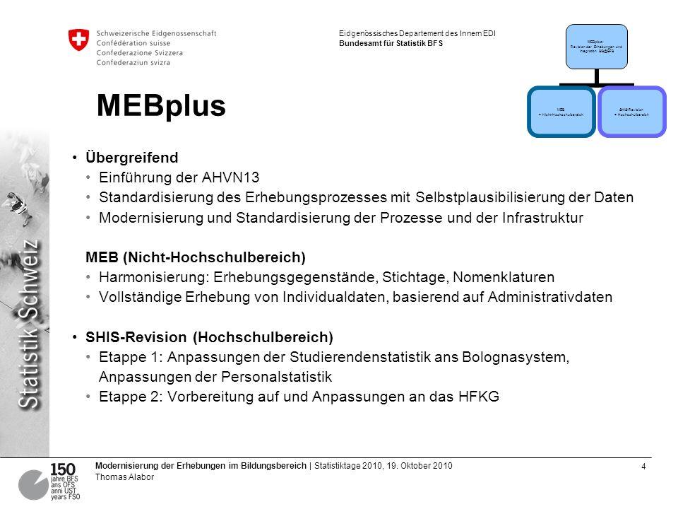 5 Modernisierung der Erhebungen im Bildungsbereich | Statistiktage 2010, 19.
