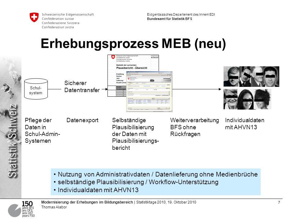 8 Modernisierung der Erhebungen im Bildungsbereich | Statistiktage 2010, 19.