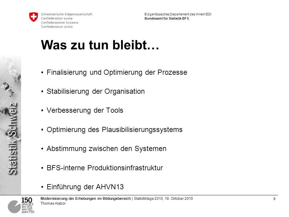 10 Modernisierung der Erhebungen im Bildungsbereich | Statistiktage 2010, 19.