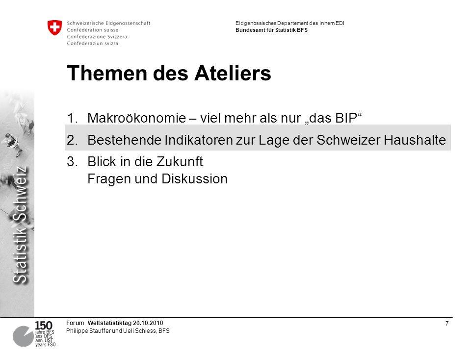 18 Forum Weltstatistiktag 20.10.2010 Philippe Stauffer und Ueli Schiess, BFS Eidgenössisches Departement des Innern EDI Bundesamt für Statistik BFS Fragmentation supplémentaire: p.ex.