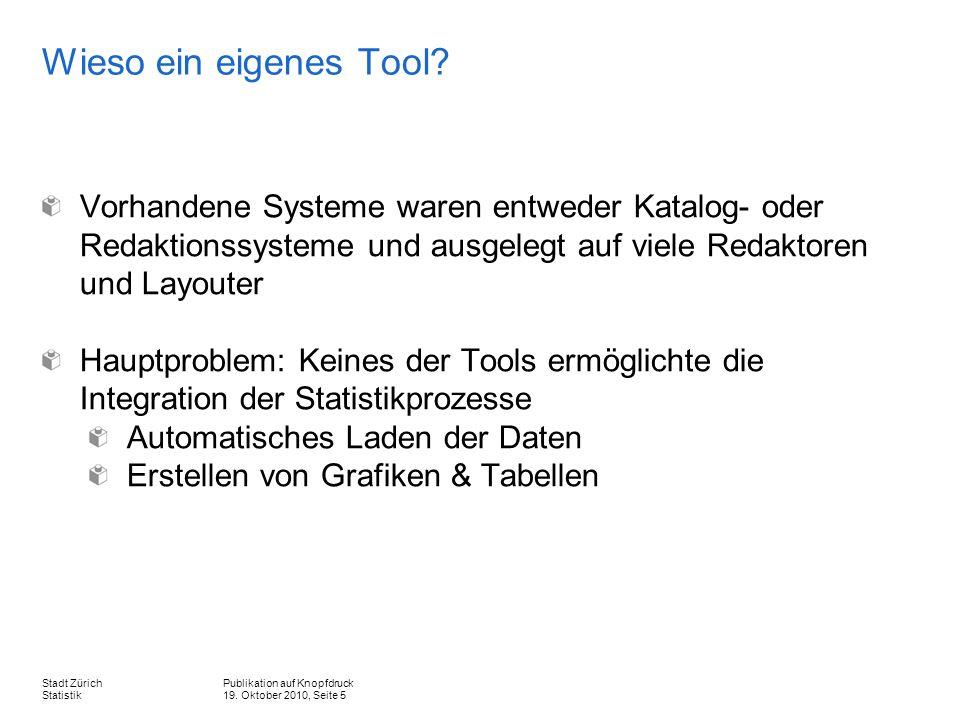 Publikation auf Knopfdruck 19. Oktober 2010, Seite 5 Stadt Zürich Statistik Wieso ein eigenes Tool.