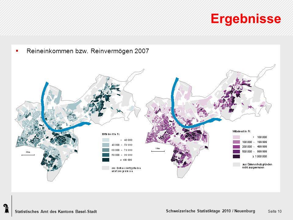 Statistisches Amt des Kantons Basel-Stadt Schweizerische Statistiktage 2010 / Neuenburg Seite 10 Ergebnisse Reineinkommen bzw.
