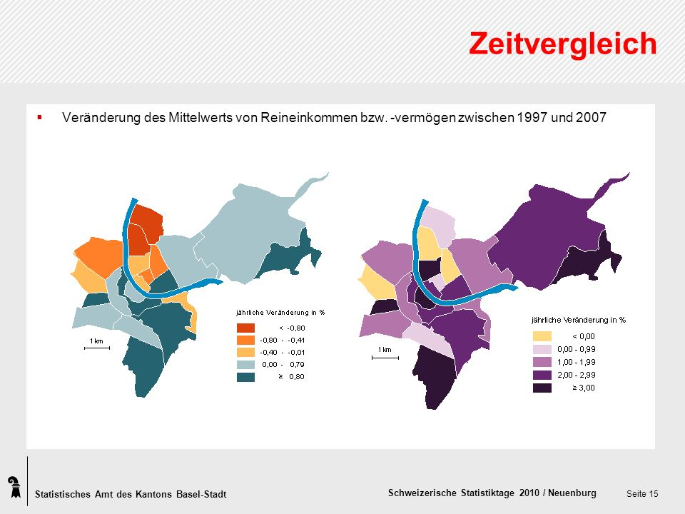 Statistisches Amt des Kantons Basel-Stadt Schweizerische Statistiktage 2010 / Neuenburg Seite 15 Zeitvergleich Veränderung des Mittelwerts von Reineinkommen bzw.