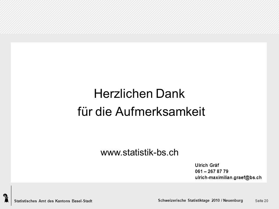 Statistisches Amt des Kantons Basel-Stadt Schweizerische Statistiktage 2010 / Neuenburg Seite 20 Herzlichen Dank für die Aufmerksamkeit www.statistik-bs.ch Ulrich Gräf 061 – 267 87 79 ulrich-maximilian.graef@bs.ch