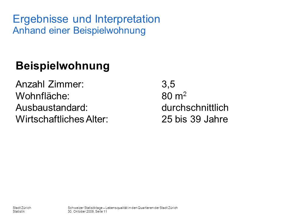 Schweizer Statistiktage – Lebensqualität in den Quartieren der Stadt Zürich 30. Oktober 2009, Seite 11 Stadt Zürich Statistik Ergebnisse und Interpret