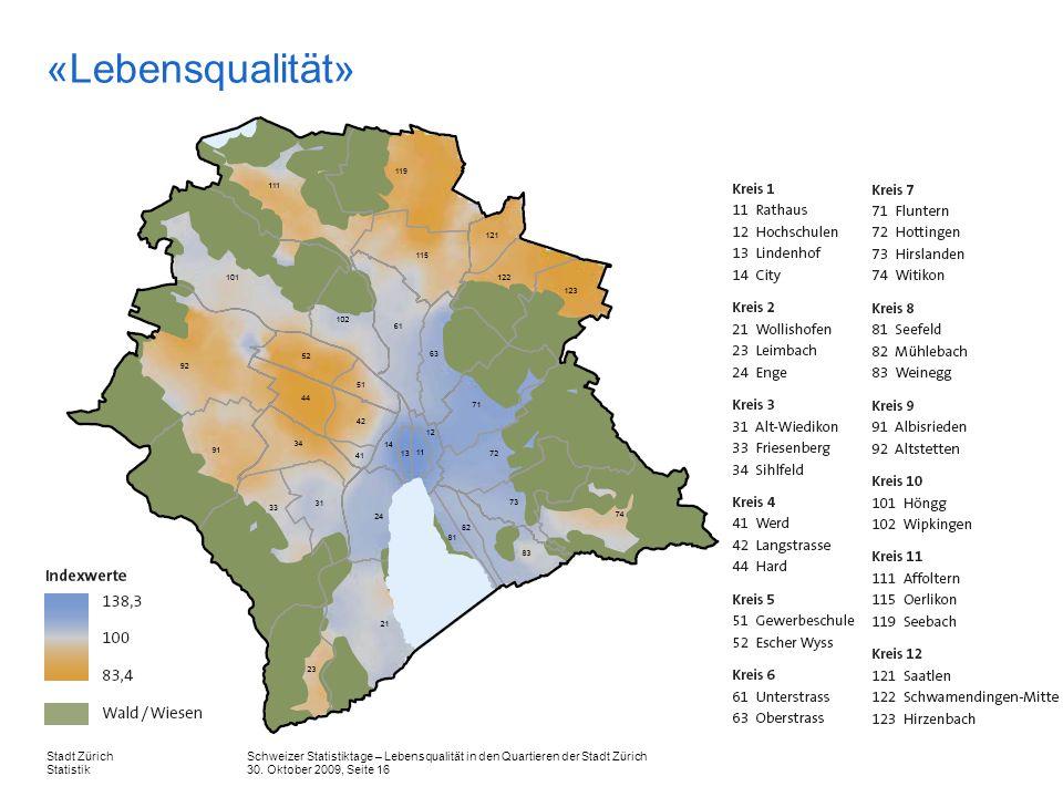 Schweizer Statistiktage – Lebensqualität in den Quartieren der Stadt Zürich 30. Oktober 2009, Seite 16 Stadt Zürich Statistik «Lebensqualität»