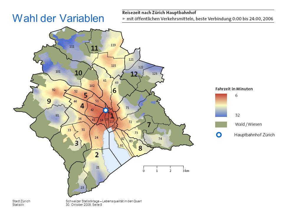 Schweizer Statistiktage – Lebensqualität in den Quartieren der Stadt Zürich 30. Oktober 2009, Seite 8 Stadt Zürich Statistik Wahl der Variablen Hauptb