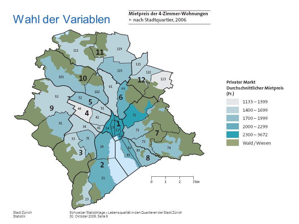 Schweizer Statistiktage – Lebensqualität in den Quartieren der Stadt Zürich 30. Oktober 2009, Seite 9 Stadt Zürich Statistik Wahl der Variablen