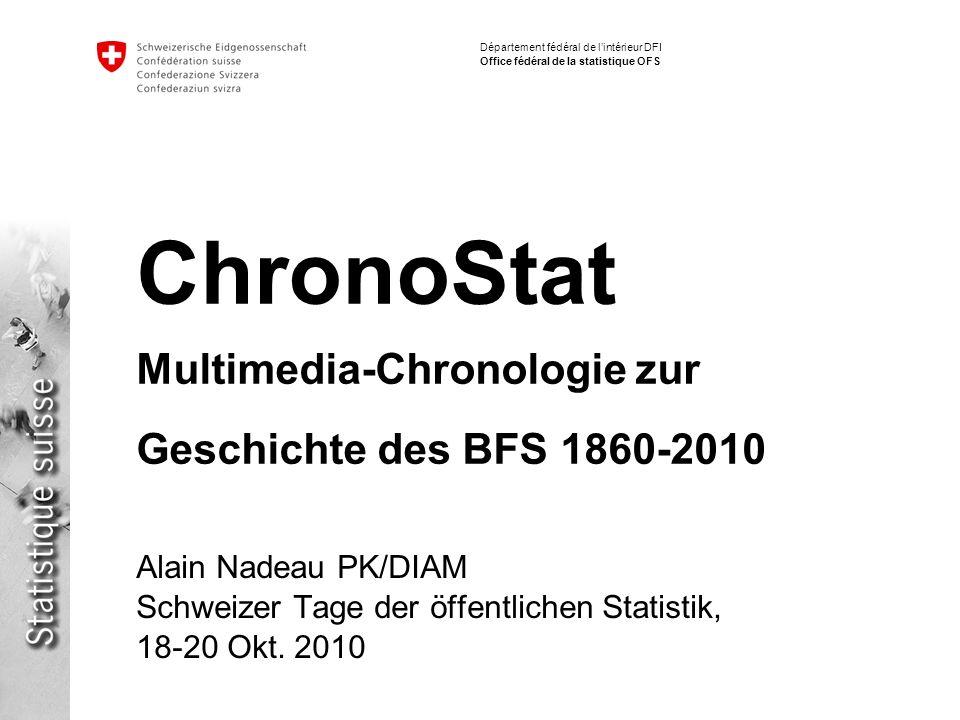 2 ChronoStat - Multimedia-Chronologie zur Geschichte des BFS 1860-2010 Alain Nadeau – 19.10.2010 Département fédéral de lintérieur DFI Office fédéral de la statistique OFS Rahmen: 150 Jahre BFS http://www.bfs150jahre.ch