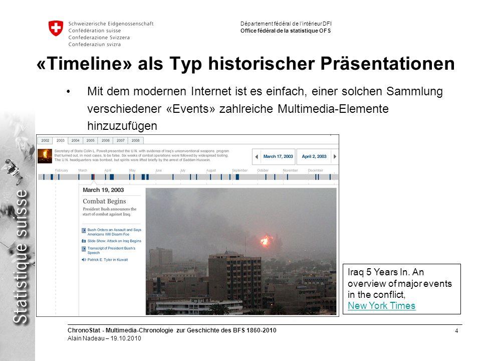 4 ChronoStat - Multimedia-Chronologie zur Geschichte des BFS 1860-2010 Alain Nadeau – 19.10.2010 Département fédéral de lintérieur DFI Office fédéral