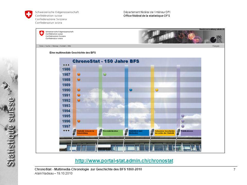 7 ChronoStat - Multimedia-Chronologie zur Geschichte des BFS 1860-2010 Alain Nadeau – 19.10.2010 Département fédéral de lintérieur DFI Office fédéral